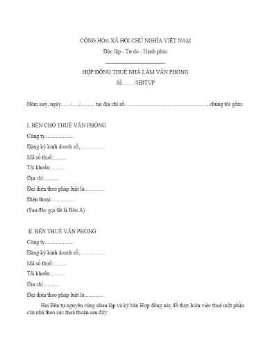 công văn chấm dứt hợp đồng thuê văn phòng
